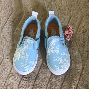 Light blue with lace flower vans